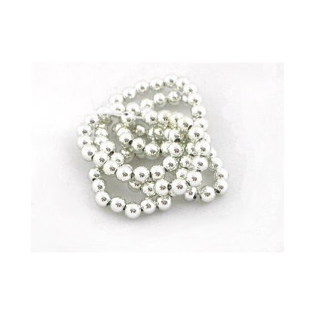 Acrylic Spacer Beads 3mm diameter approx silver string of 30 beads